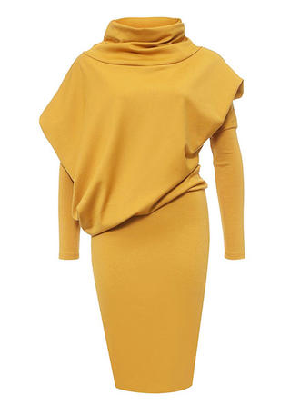 Solid High Neck Knee Length Bodycon Dress