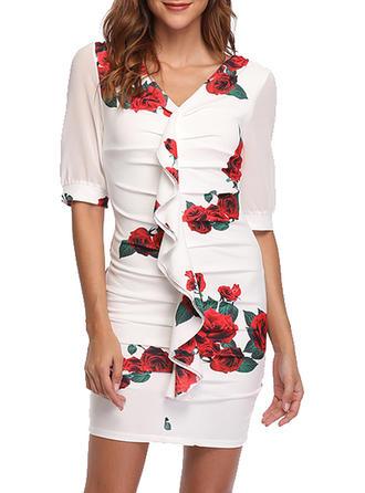 Impresión/Floral Mangas 1/2 Ajustado Sobre la Rodilla Casual/Elegante Vestidos