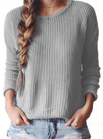 Akryl Poliester Okrągły Dekolt Jednolity kolor Swetry
