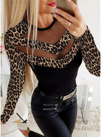 Animal Print Patchwork Round Neck Long Sleeves Casual Blouses