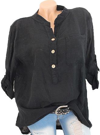 Bawełna Bielizna Lapel Jednolity kolor Długie rękawy Koszula Bluzki