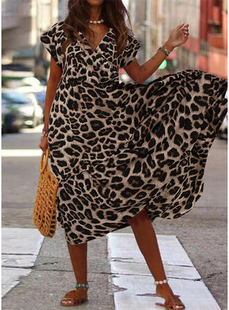 Leopard Short Sleeves A-line Casual/Elegant Midi Dresses