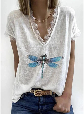 Print Lace V-Neck Short Sleeves Casual Blouses