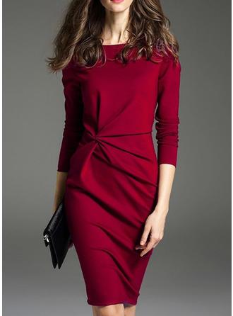 Einfarbig Lange Ärmel Figurbetont Knielang Freizeit/Elegant Kleider