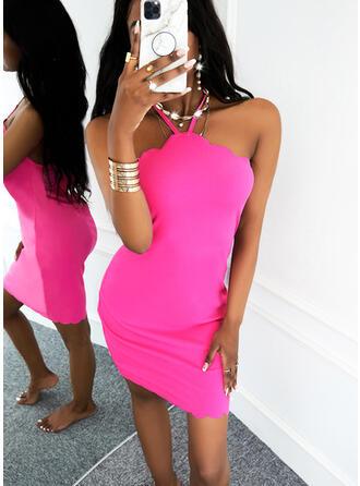 Einfarbig Ärmellos Figurbetont Über dem Knie Lässige Kleidung Kleider