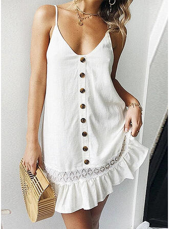 Solid Sleeveless Shift Above Knee Sexy/Casual/Vacation Dresses