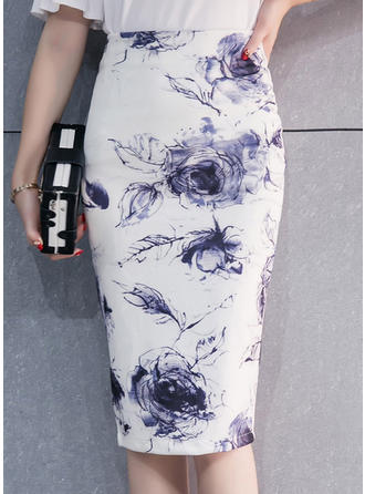 Cotton Floral Knee Length Pencil Skirts Bodycon Skirts