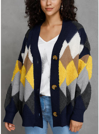 Color Block Geometric Print V neck Cardigan