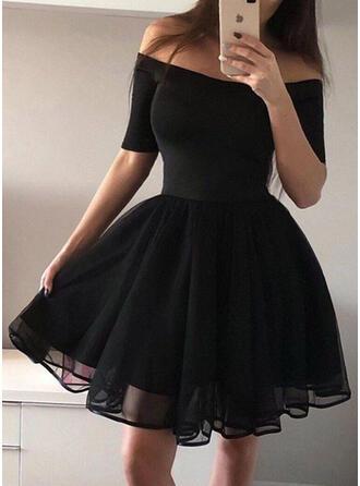 Solide 1/2 Mouwen A-lijn Boven de knie Vintage/Zwart jurkje/Feest/Elegant Jurken