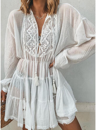 Lace/Solid Long Sleeves/Lantern Sleeve A-line Above Knee Casual/Vacation Dresses