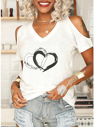 Print Hart Cold Shoulder Korte Mouwen Casual Overhemd