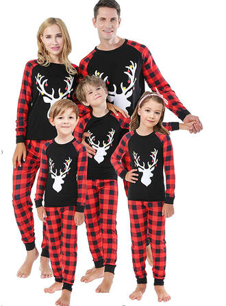 Reindeer Plaid Family Matching Christmas Pajamas