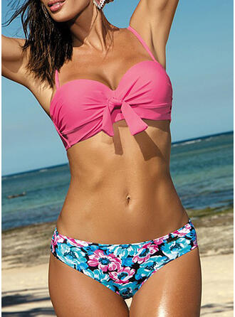 Floral Push Up Knotted Strap Sexy Cute Bikinis Swimsuits