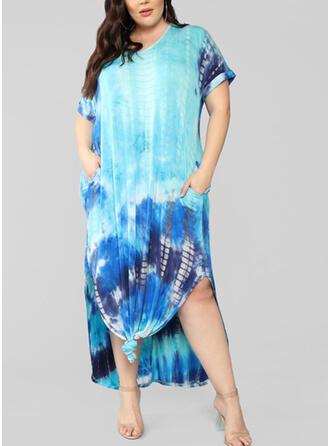 Print Short Sleeves Shift Casual/Plus Size Midi Dresses