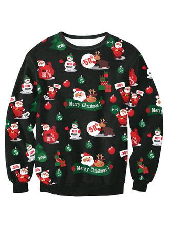 Unisex Poliéster Spandex do Impressão Camisola de Natal