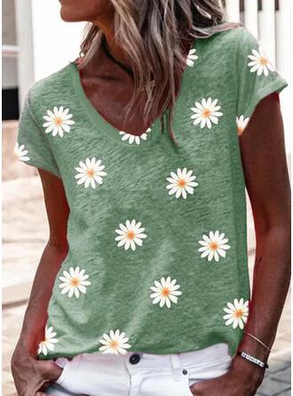Kukka Printti V-kaula Lyhyet hihat T-paidat