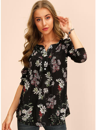 Print Floral V Neck Long Sleeves Button Up Casual Blouses