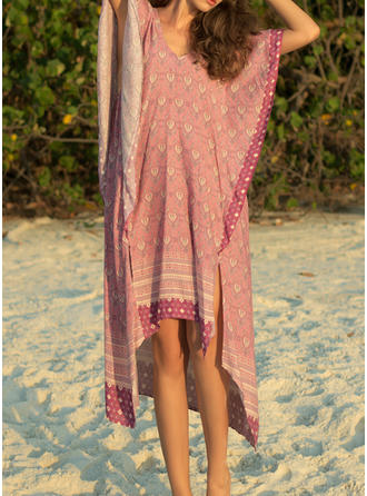 Print Short Sleeves Shift Asymmetrical Casual/Vacation Dresses
