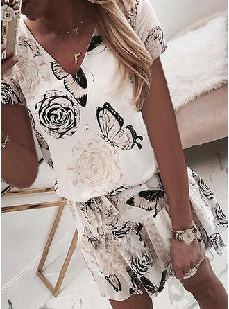 Print/Floral Short Sleeves Sheath Above Knee Casual/Elegant Dresses
