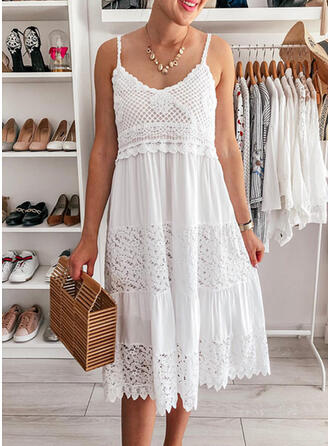 Lace/Solid Sleeveless Shift Slip Little Black/Casual/Vacation Midi Dresses