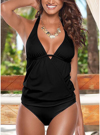 Solid Color Halter Beautiful Tankinis Swimsuits