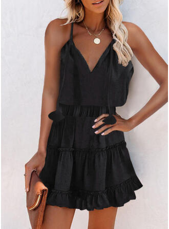 Solid Sleeveless A-line Above Knee Little Black/Casual Slip/Skater Dresses