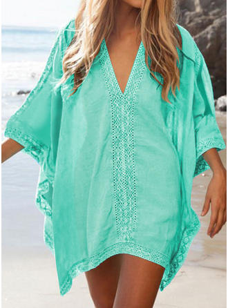 Solid Color V-neck Classic Cover-ups Swimsuits