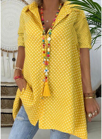 PolkaDot Lapel Short Sleeves Button Up Casual Elegant Shirt Blouses