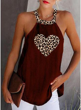 Impresión Leopardo Cuello redondo Sin mangas Casual Camisetas sin mangas