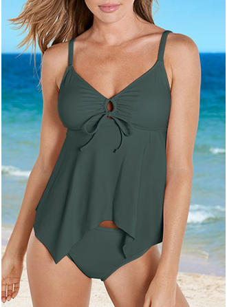 Solid Color Strap Elegant Tankinis Swimsuits