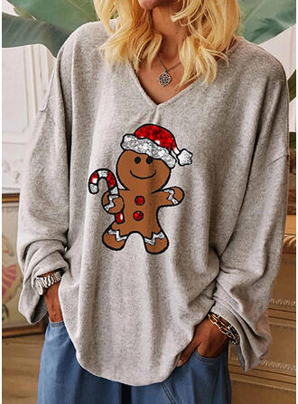 Print Sequins V-Neck Long Sleeves Casual Christmas T-shirts