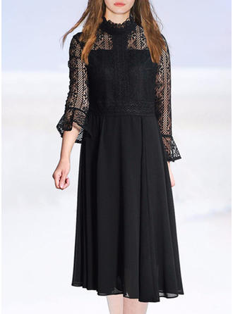 Lace Solid Hollow Stand collar Midi Shift Dress