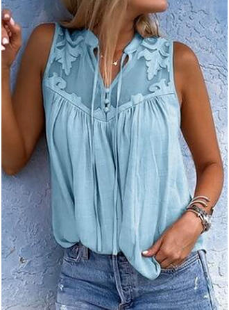 Solid V Neck Sleeveless Button Up Casual Blouses