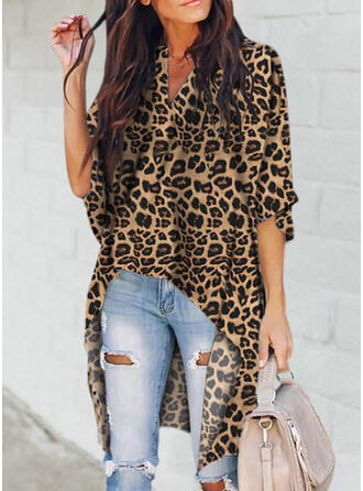 Animal Print V-Neck 1/2 Sleeves Casual Knit Blouses