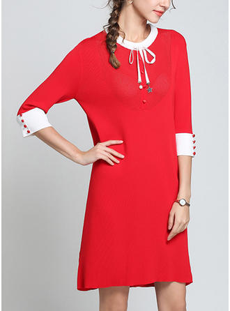 Solid Bow Round Neck Above Knee Shift Dress