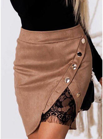 Polyester Lace Above Knee Bodycon Skirts