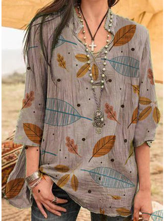 Print Lapel 3/4 Sleeves Casual Knit Blouses