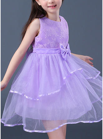 Girls Round Neck Bow Cute Party Flower Girl Dress