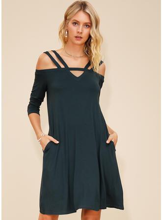 Solid Cold Shoulder Sleeve Shift Knee Length Casual Dresses