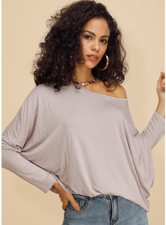 Solid One-Shoulder Batwing Sleeve Long Sleeves Casual Knit Blouses