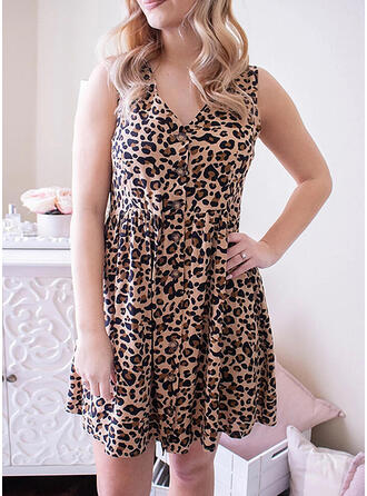 Leopard Sleeveless A-line Above Knee Casual/Plus Size Dresses