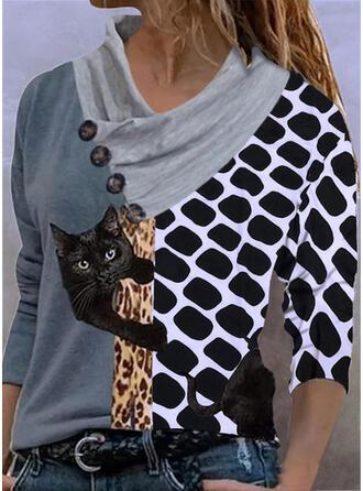 Color Block Leopard Print Animal V-Neck Long Sleeves T-shirts