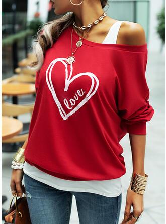 Figura Serce Nadruk Na jedno ramię Długie rękawy T-shirty