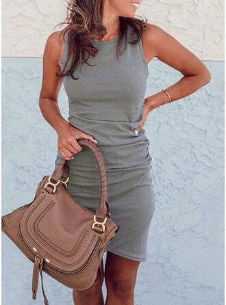 Solid Sleeveless Bodycon Asymmetrical Casual Dresses