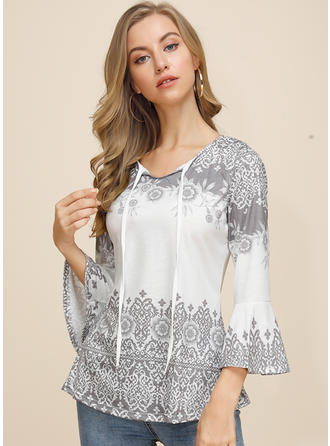 Print V neck Flare Sleeve 3/4 Sleeves Casual Blouses