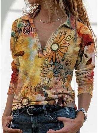 Print Lapel Long Sleeves T-shirts