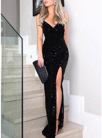 Sequins Sleeveless Sheath Little Black/Party Maxi Dresses