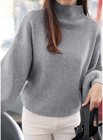 Polyester Stand Collar Plain Sweater