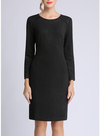 Solid Long Sleeves Sheath Knee Length Little Black/Casual/Elegant Dresses