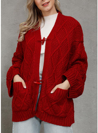Solid Waffle Knit Chunky knit Cardigan